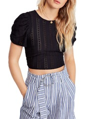 Free People Star Struck Puff-Sleeve Cropped Top