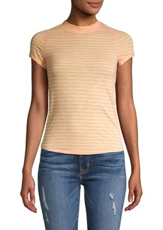 Free People Striped Cotton Blend Tee