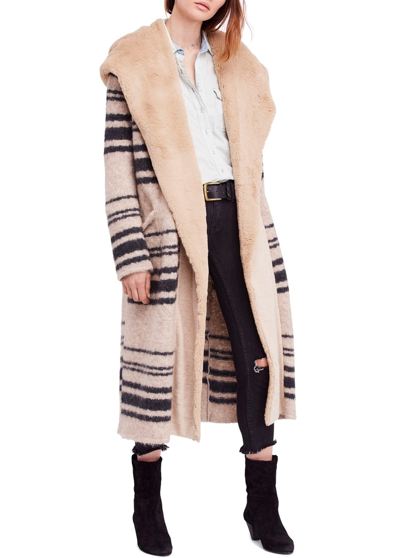 Free People Sweetest Thing Faux Fur Hooded Sweater Coat