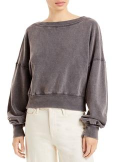 Free People Take Me Back Cotton Cropped Sweatshirt