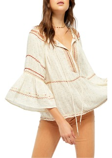Free People Talia Embroidered Blouse