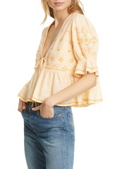 Free People Tallulah Embroidered Blouse