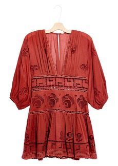 Free People Tea Time Embroidered Cutout Minidress