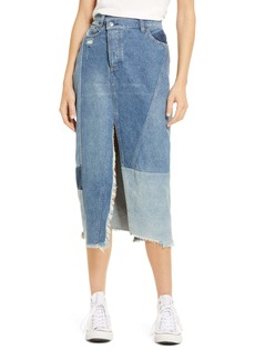 Free People Tennyson Patchwork Denim Midi Skirt