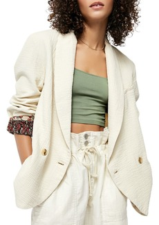 Free People Textured Printed-Cuff Blazer