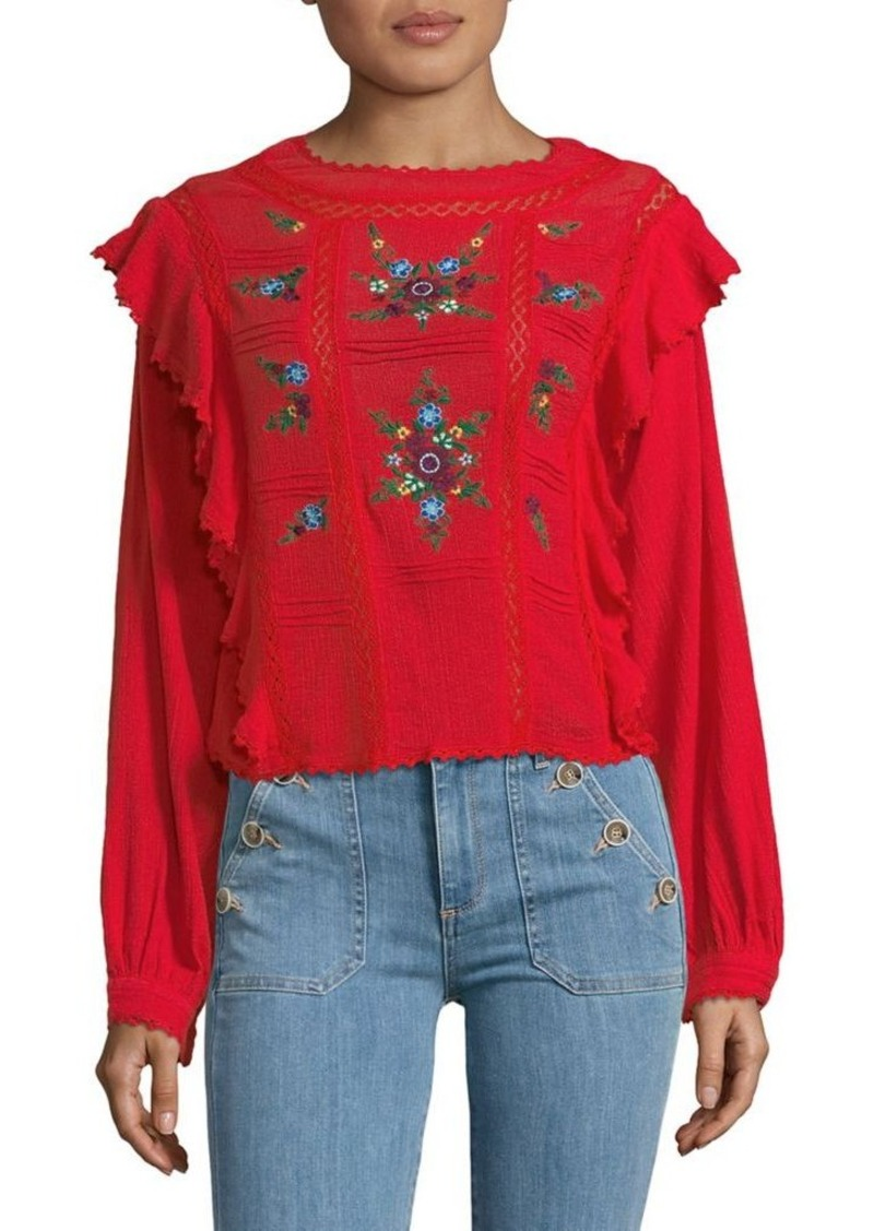 6134c5580783b3 Free People Free People The Amy Embroidered Top | Casual Shirts