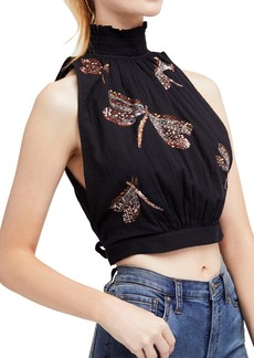 Free People The Garden Embroidered Crop Top