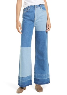 Free People The Wideleg High Waist Patchwork Jeans