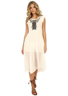Free People Toosaloosa Slub Meadows Embroidered Midi Dress