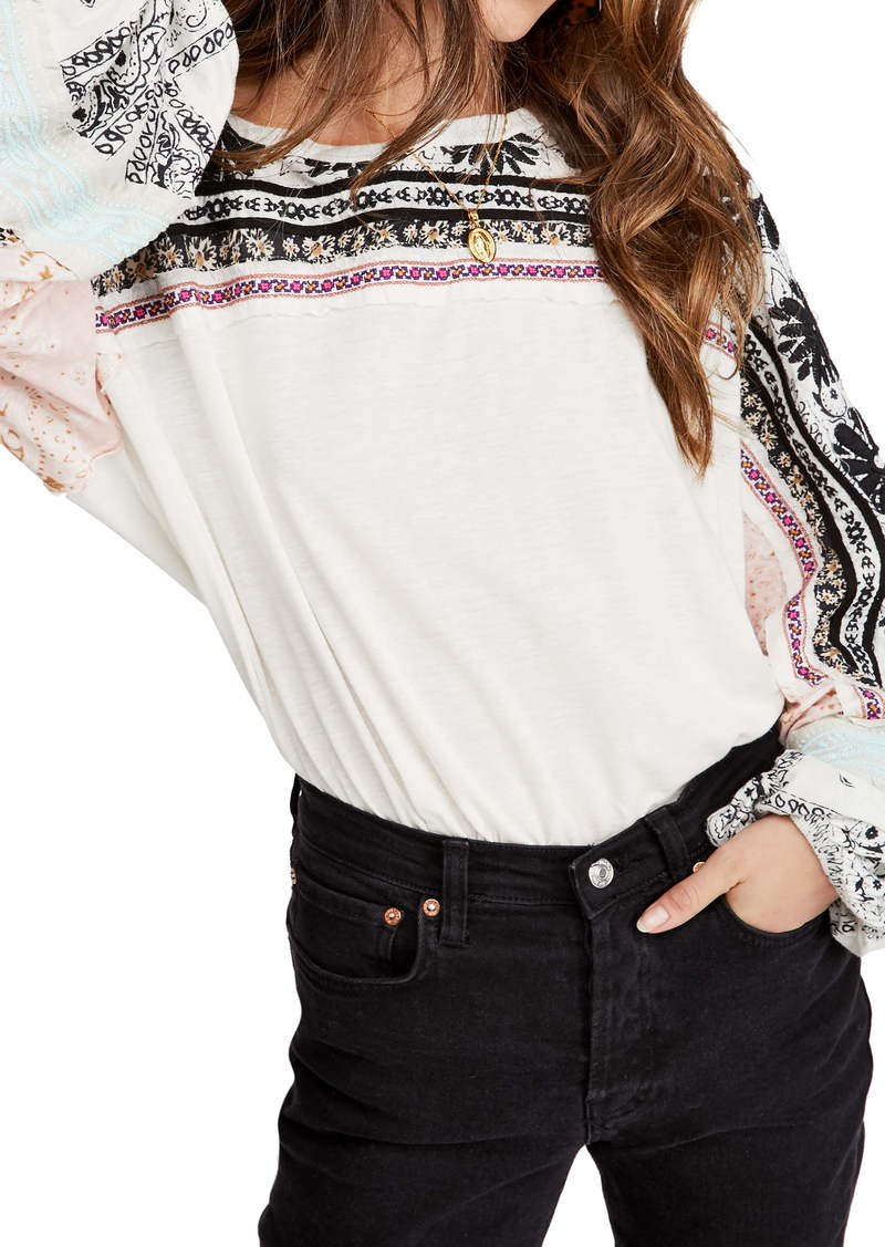 Free People Tripoli Embroidered Top