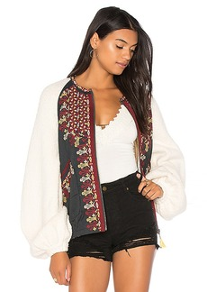Free People Two Faced Embroidered Jacket in White. - size L (also in M,S,XS)