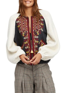 Free People Two Faced Embroidered Mixed Media Jacket
