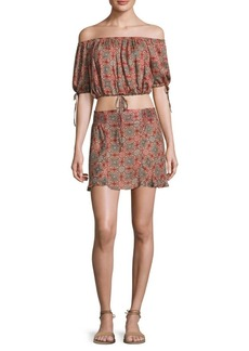 Free People Two-Piece Electric Love Off-The-Shoulder Cropped Top & Skirt