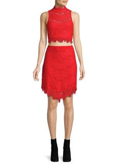 Free People Two-Piece Sabina Lace Cropped Top and Skirt