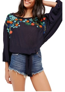 Free People Up & Away Embroidered Peasant Blouse