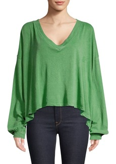 Free People V-Neck Puff-Sleeve Sweater