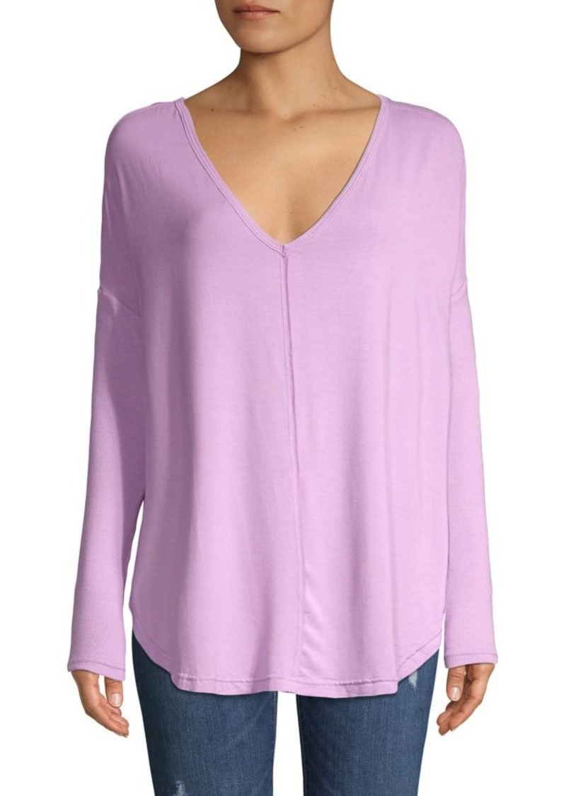 Free People V-Neck Ribbed-Sleeve Tunic