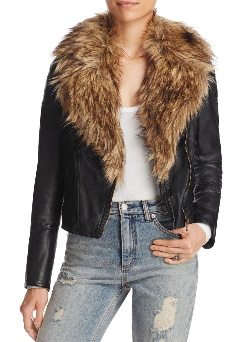 3495cac21 Faux Leather Moto Jacket with Faux Fur Collar