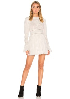 Free People Victorian Waisted Mini Dress in Ivory. - size 0 (also in 2,4,6,8)