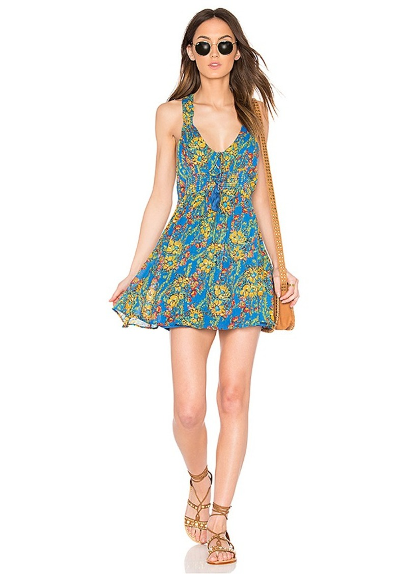 Free People Washed Ashore Mini Dress in Blue. - size L (also in M,S)