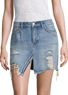 Free People We The Free Relaxed & Destroyed Denim Miniskirt