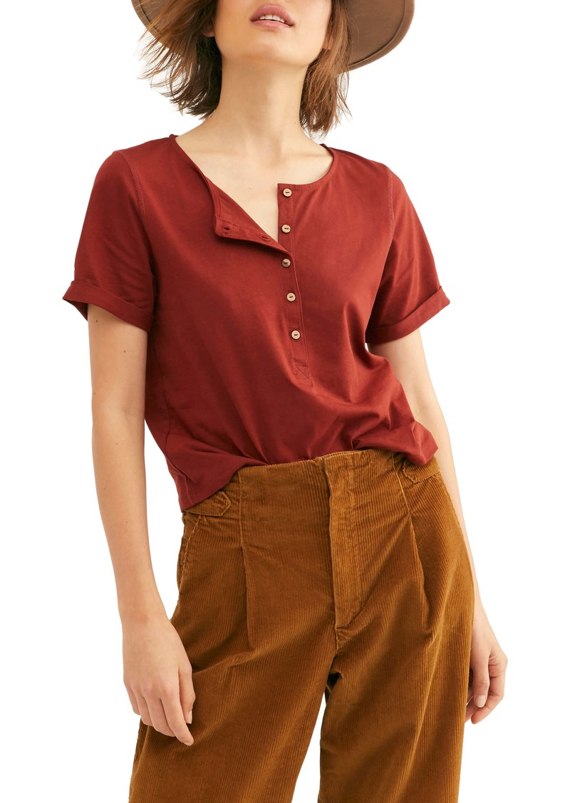Free People What's Up Button Front Tee