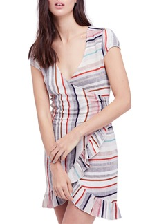 Free People Wrap It Up Stripe Wrap Dress