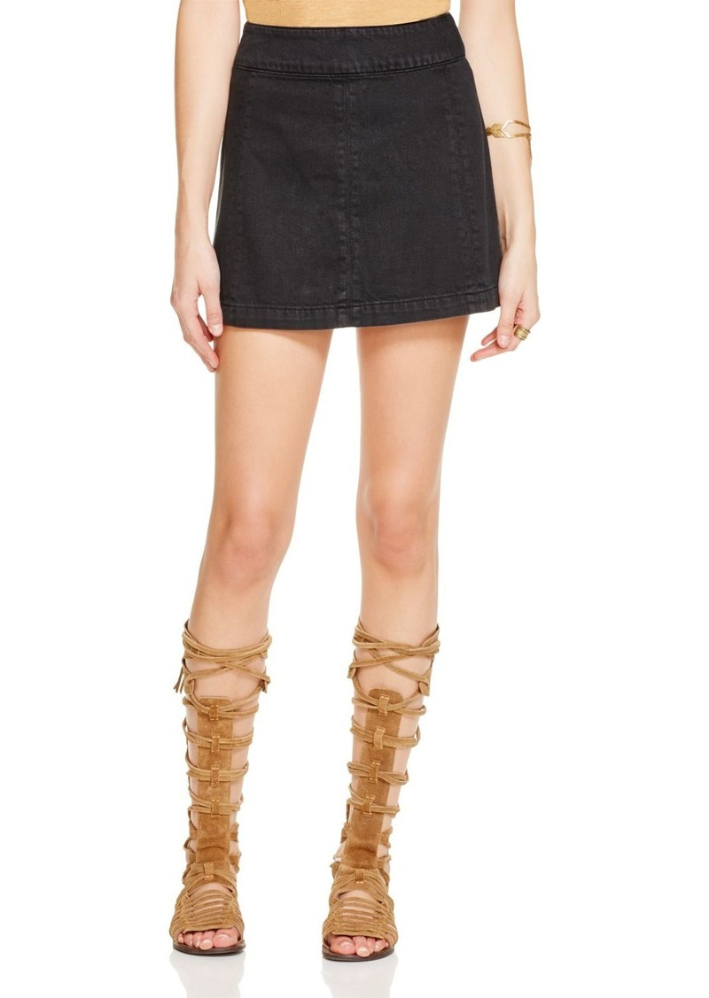 Free People Zip To It Denim Mini Skirt