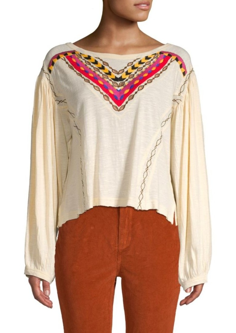 Free People Hand Me Embroidered Top