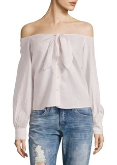 Free People Hello There Beautiful Off-Shoulder Tied Blouse