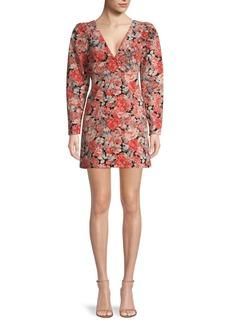 Free People Kapowski Floral Puff-Sleeve Mini Dress