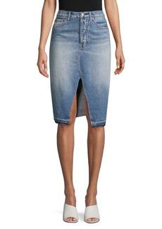 Free People Knee-Length Denim Skirt