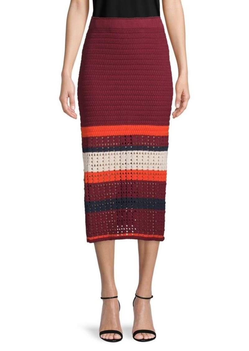 Free People Knitted Colorblock Cotton Skirt