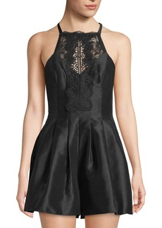 Free People Lace-Neck Two-Pocket Pleated Satin Romper