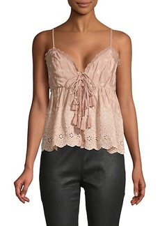 Free People Lace-Trim Embroidered Top