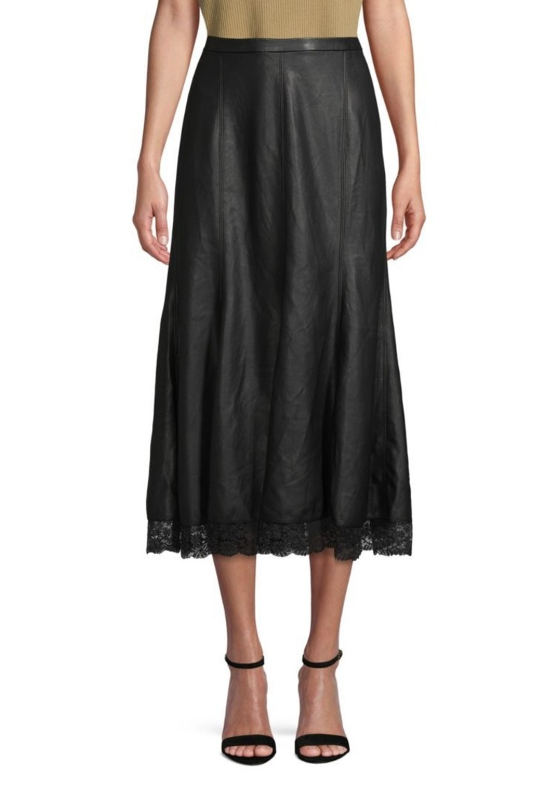 Free People Lace-Trim Faux Leather Midi Skirt