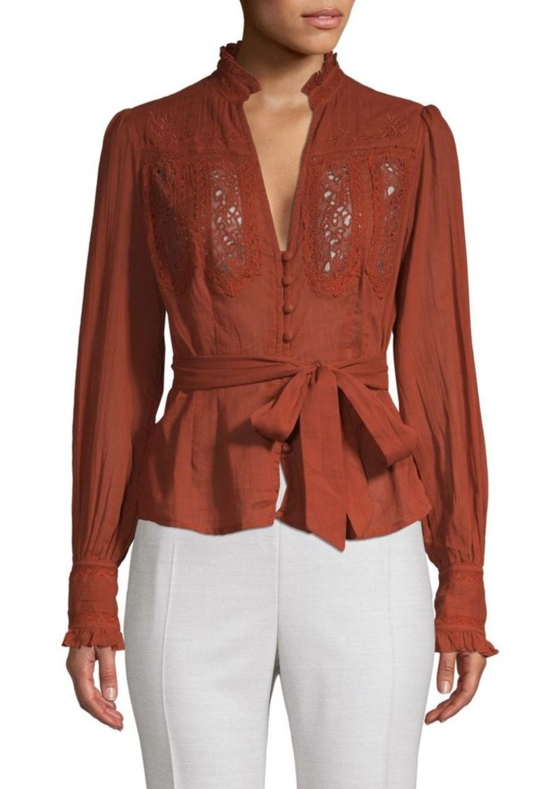 Free People Lace-Trimmed Long-Sleeve Top