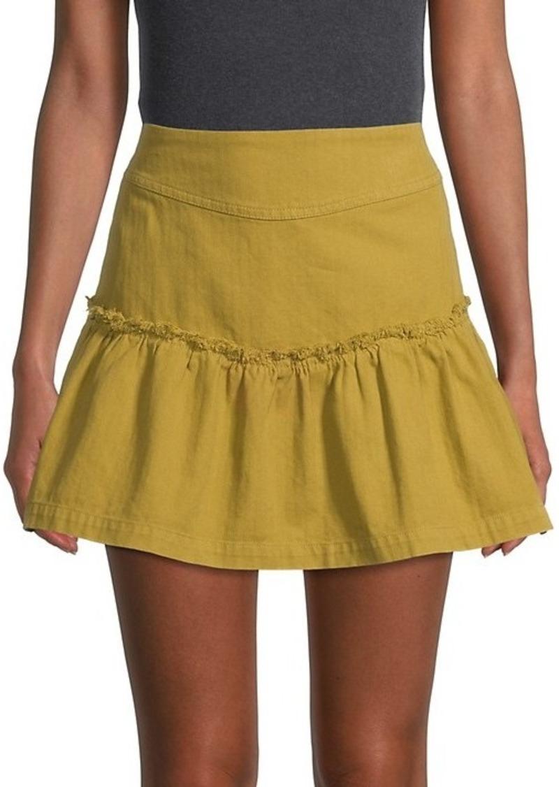 Free People Lace-Up Denim Mini Skirt