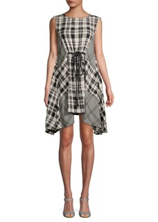 Free People Land Lines Checker Drape Dress