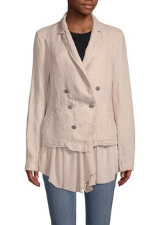 Free People Layered Ruffle Linen Blazer