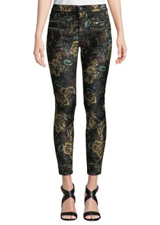 Free People Lennon Floral-Jacquard Zip-Cuff Skinny Pants