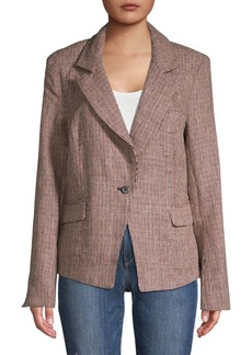 Free People Linen Checkered Blazer