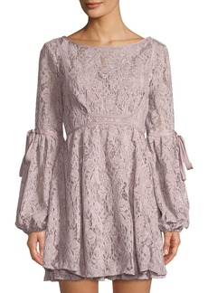 Free People Long-Sleeve Lace Fit-and-Flare Dress