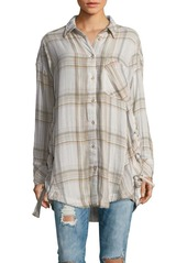 Free People Long-Sleeve Plaid Button-Down Shirt