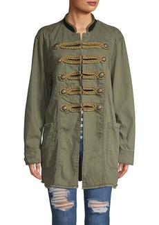 Free People Mandarin Collar Cotton Jacket