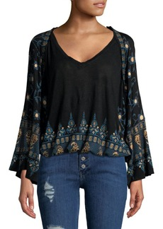 Free People Medallion Printed Long-Sleeve Top