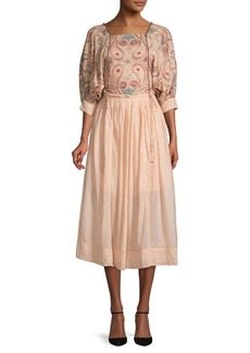 Free People Mesa Embroidered A-Line Cotton Midi Dress