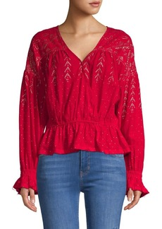 Free People Metallic V-Neck Cotton Top