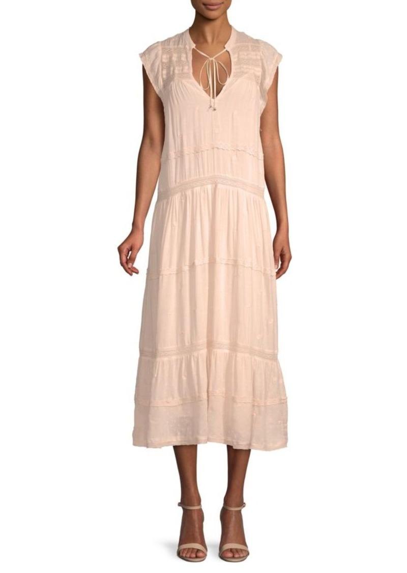 Free People Midnight Lace-Trim Shift Midi Dress