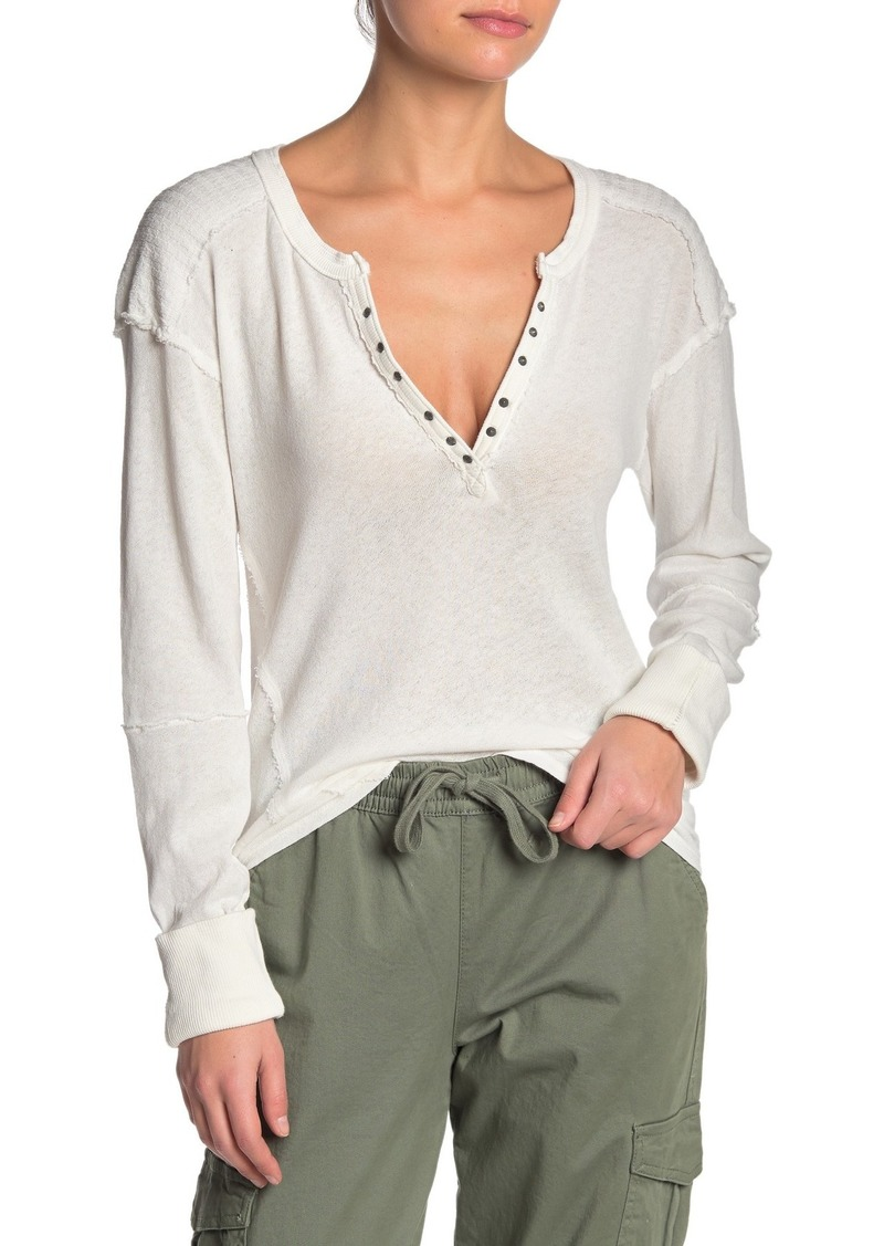 Free People Military Mix Henley T-Shirt